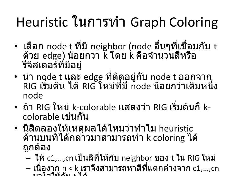 Heuristic ในการทำ Graph Coloring เลือก node t ที่มี neighbor (node อื่นๆที่เชื่อมกับ t ด้วย edge) น้อยกว่า k โดย k คือจำนวนสีหรือ รีจิสเตอร์ที่มีอยู่