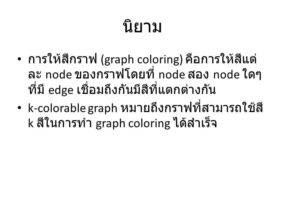 นิยาม การให้สีกราฟ (graph coloring) คือการให้สีแต่ ละ node ของกราฟโดยที่ node สอง node ใดๆ ที่มี edge เชื่อมถึงกันมีสีที่แตกต่างกัน k-colorable graph