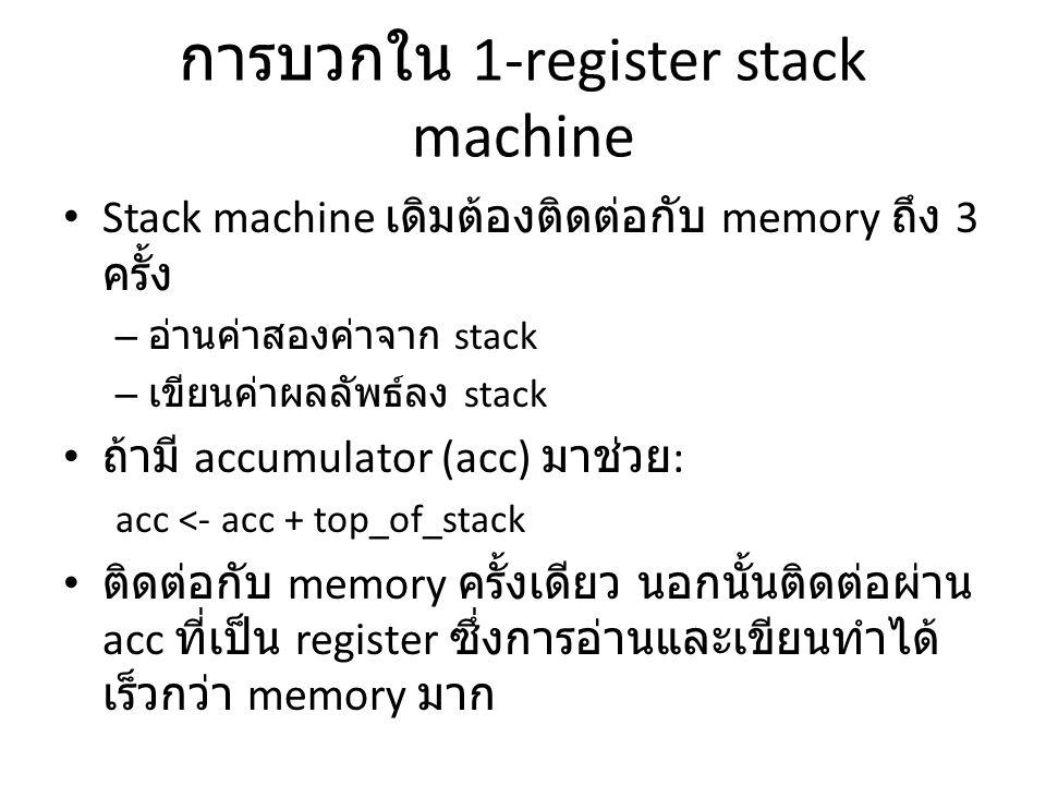 การบวกใน 1-register stack machine Stack machine เดิมต้องติดต่อกับ memory ถึง 3 ครั้ง – อ่านค่าสองค่าจาก stack – เขียนค่าผลลัพธ์ลง stack ถ้ามี accumula