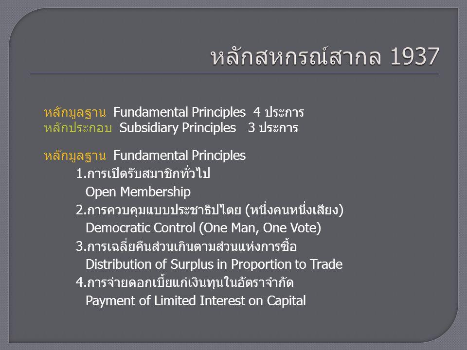 หลักมูลฐาน Fundamental Principles หลักประกอบ Subsidiary Principles หลักประกอบ Subsidiary Principles 3 ประการ 5.การเป็นกลางทางการเมืองและศาสนา Political and Religious Neutrality 6.การทำการค้าด้วยเงินสด Cash Trading 7.การส่งเสริมการศึกษา Promotion of Education