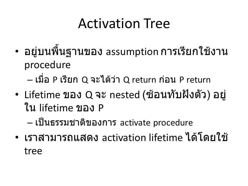 Activation Tree อยู่บนพื้นฐานของ assumption การเรียกใช้งาน procedure – เมื่อ P เรียก Q จะได้ว่า Q return ก่อน P return Lifetime ของ Q จะ nested ( ซ้อนทับฝังตัว ) อยู่ ใน lifetime ของ P – เป็นธรรมชาติของการ activate procedure เราสามารถแสดง activation lifetime ได้โดยใช้ tree
