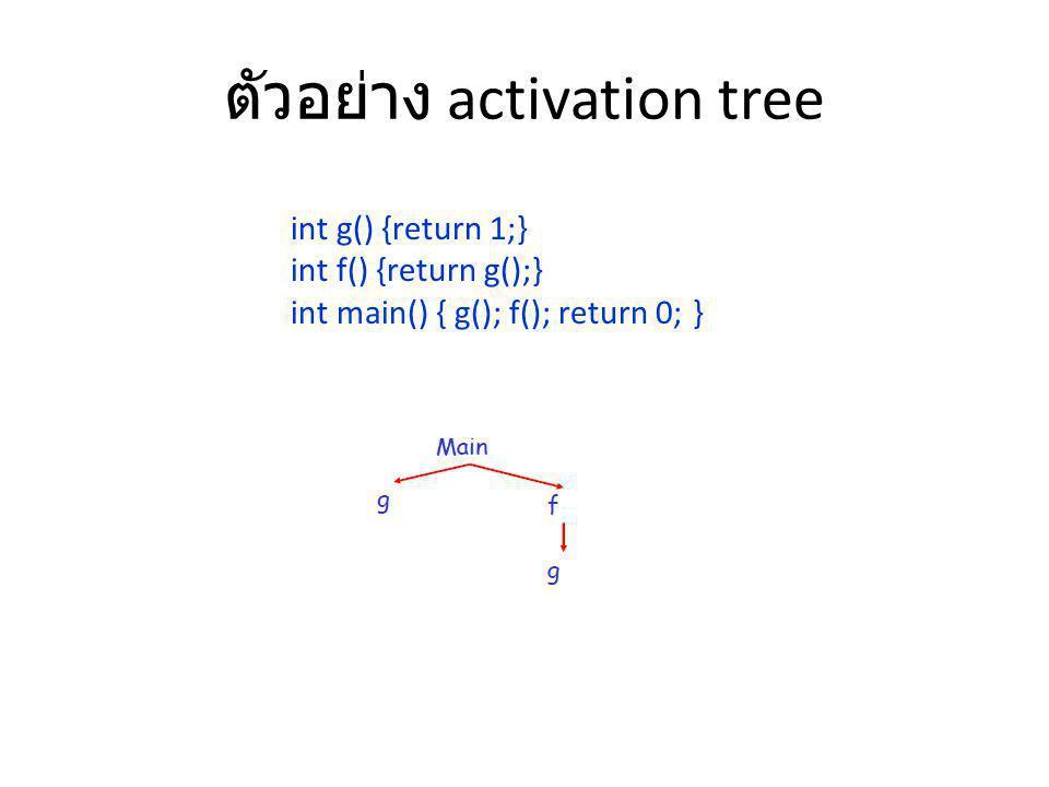 ตัวอย่าง activation tree int g() {return 1;} int f() {return g();} int main() { g(); f(); return 0; }