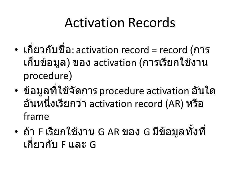 Activation Records เกี่ยวกับชื่อ : activation record = record ( การ เก็บข้อมูล ) ของ activation ( การเรียกใช้งาน procedure) ข้อมูลที่ใช้จัดการ procedure activation อันใด อันหนึ่งเรียกว่า activation record (AR) หรือ frame ถ้า F เรียกใช้งาน G AR ของ G มีข้อมูลทั้งที่ เกี่ยวกับ F และ G