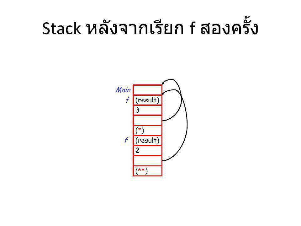 Stack หลังจากเรียก f สองครั้ง