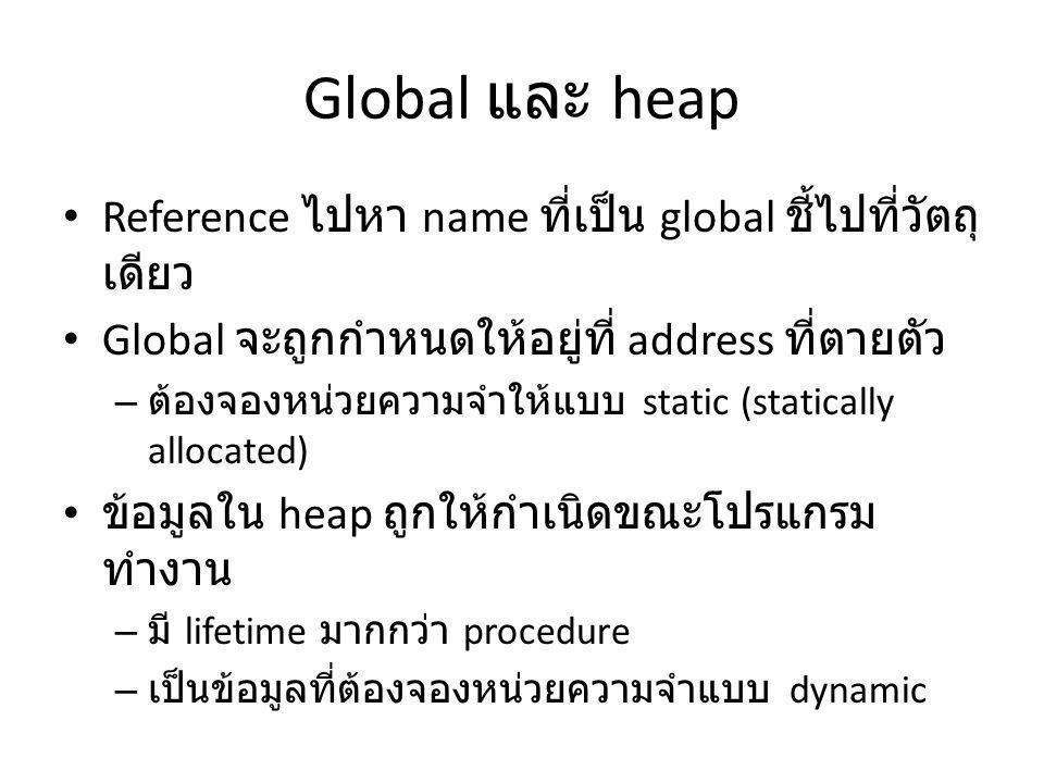Global และ heap Reference ไปหา name ที่เป็น global ชี้ไปที่วัตถุ เดียว Global จะถูกกำหนดให้อยู่ที่ address ที่ตายตัว – ต้องจองหน่วยความจำให้แบบ static (statically allocated) ข้อมูลใน heap ถูกให้กำเนิดขณะโปรแกรม ทำงาน – มี lifetime มากกว่า procedure – เป็นข้อมูลที่ต้องจองหน่วยความจำแบบ dynamic