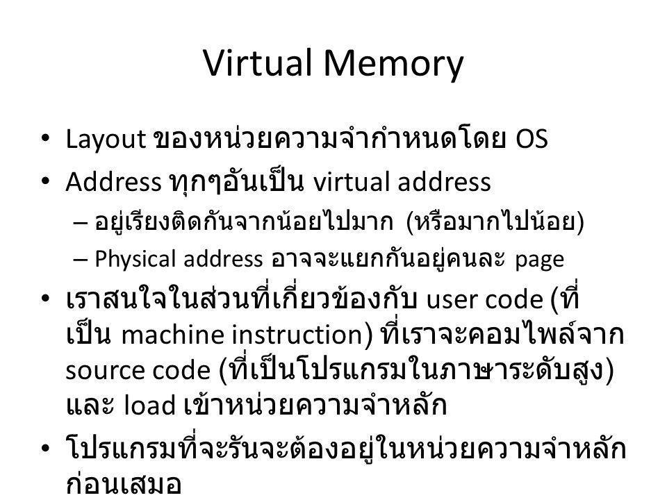 Virtual Memory Layout ของหน่วยความจำกำหนดโดย OS Address ทุกๆอันเป็น virtual address – อยู่เรียงติดกันจากน้อยไปมาก ( หรือมากไปน้อย ) – Physical address อาจจะแยกกันอยู่คนละ page เราสนใจในส่วนที่เกี่ยวข้องกับ user code ( ที่ เป็น machine instruction) ที่เราจะคอมไพล์จาก source code ( ที่เป็นโปรแกรมในภาษาระดับสูง ) และ load เข้าหน่วยความจำหลัก โปรแกรมที่จะรันจะต้องอยู่ในหน่วยความจำหลัก ก่อนเสมอ