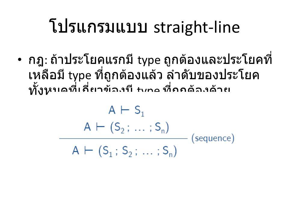โปรแกรมแบบ straight-line กฎ : ถ้าประโยคแรกมี type ถูกต้องและประโยคที่ เหลือมี type ที่ถูกต้องแล้ว ลำดับของประโยค ทั้งหมดที่เกี่ยวข้องมี type ที่ถูกต้อ