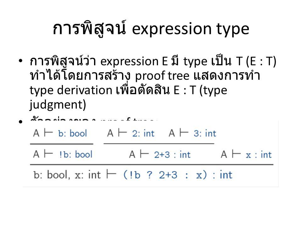 การพิสูจน์ expression type การพิสูจน์ว่า expression E มี type เป็น T (E : T) ทำได้โดยการสร้าง proof tree แสดงการทำ type derivation เพื่อตัดสิน E : T (