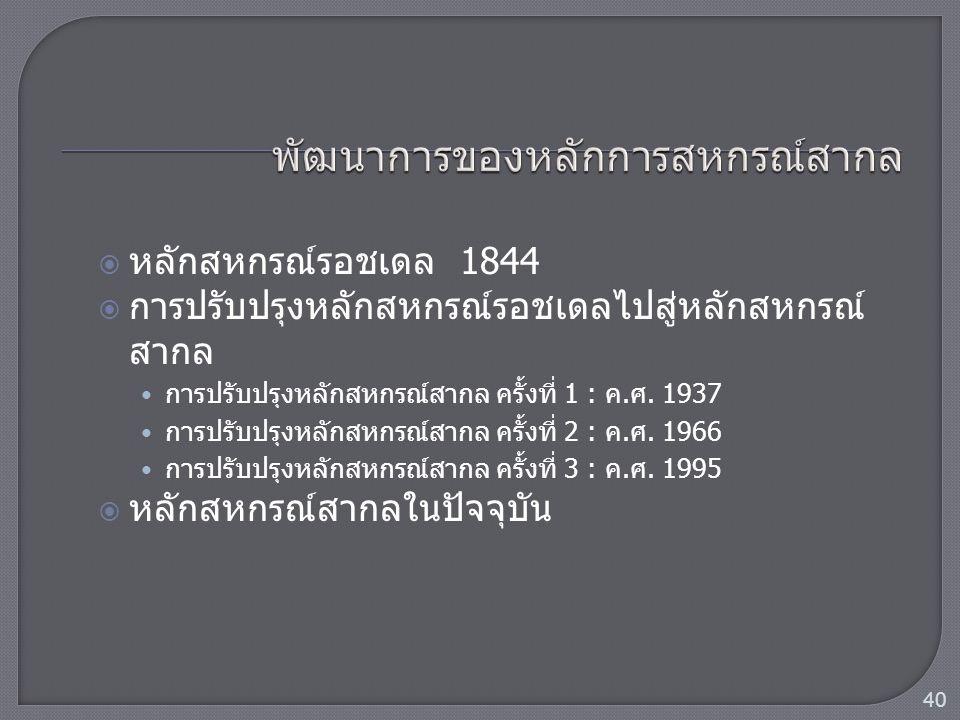  หลักสหกรณ์รอชเดล 1844  การปรับปรุงหลักสหกรณ์รอชเดลไปสู่หลักสหกรณ์ สากล การปรับปรุงหลักสหกรณ์สากล ครั้งที่ 1 : ค.ศ. 1937 การปรับปรุงหลักสหกรณ์สากล ค