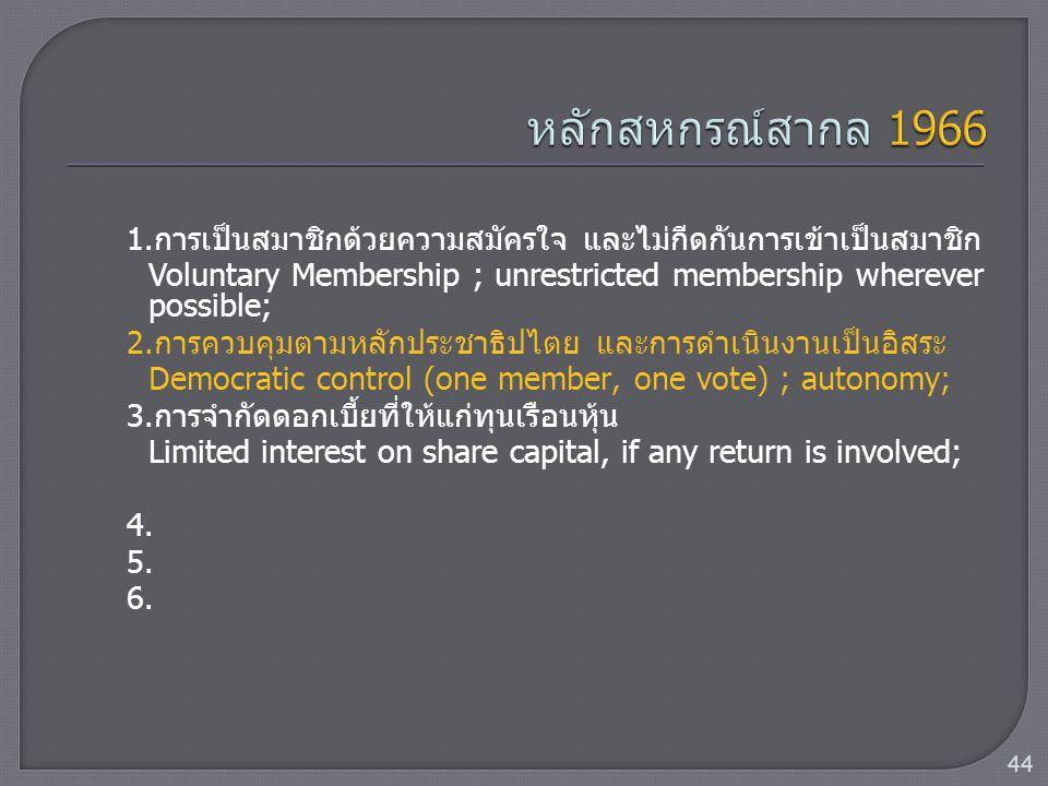 1.การเป็นสมาชิกด้วยความสมัครใจ และไม่กีดกันการเข้าเป็นสมาชิก Voluntary Membership ; unrestricted membership wherever possible; 2.การควบคุมตามหลักประชา