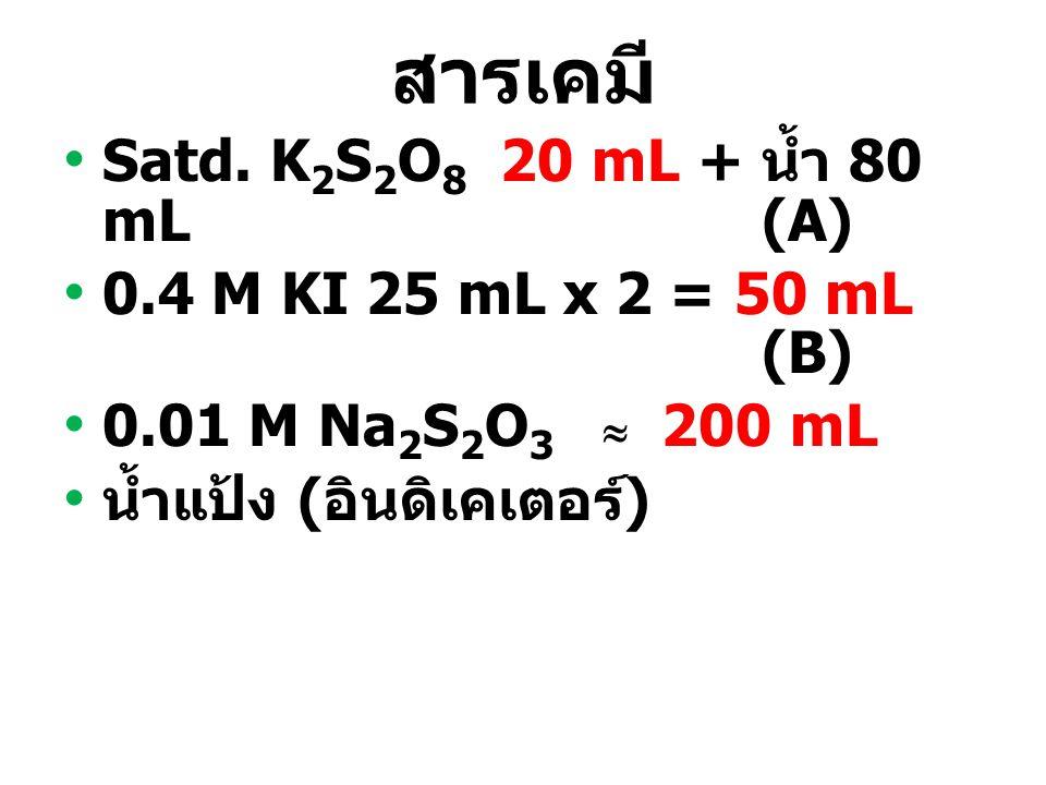 สารเคมี Satd. K 2 S 2 O 8 20 mL + น้ำ 80 mL (A) 0.4 M KI 25 mL x 2 = 50 mL (B) 0.01 M Na 2 S 2 O 3   200 mL น้ำแป้ง ( อินดิเคเตอร์ )