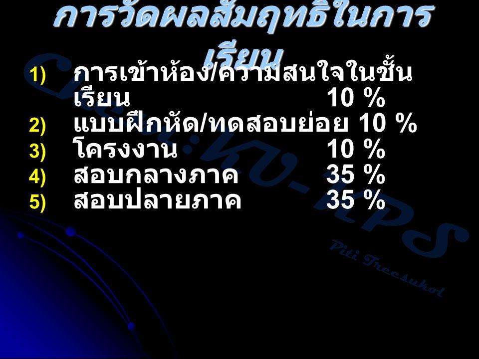 Chem:KU-KPS Piti Treesukol การวัดผลสัมฤทธิ์ในการ เรียน 1) การเข้าห้อง / ความสนใจในชั้น เรียน 10 % 2) แบบฝึกหัด / ทดสอบย่อย 10 % 3) โครงงาน 10 % 4) สอบ