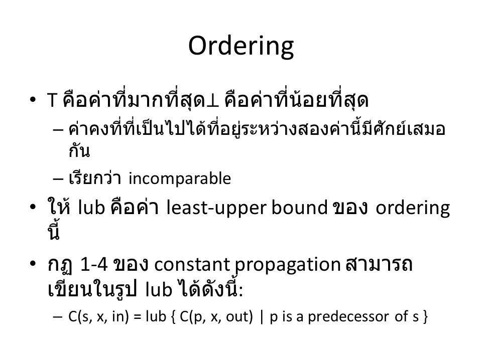 Ordering T คือค่าที่มากที่สุด⊥ คือค่าที่น้อยที่สุด – ค่าคงที่ที่เป็นไปได้ที่อยู่ระหว่างสองค่านี้มีศักย์เสมอ กัน – เรียกว่า incomparable ให้ lub คือค่า least-upper bound ของ ordering นี้ กฏ 1-4 ของ constant propagation สามารถ เขียนในรูป lub ได้ดังนี้ : – C(s, x, in) = lub { C(p, x, out) | p is a predecessor of s }