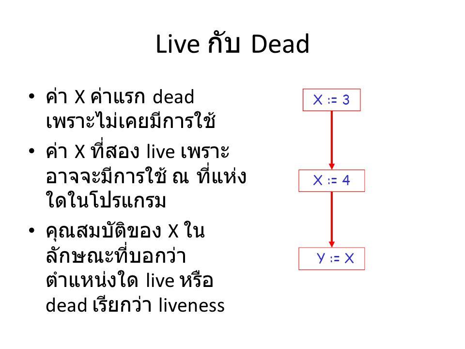 Liveness ตัวแปร x จะ live ที่คำสั่ง s ถ้า – ถ้ามีคำสั่ง s' ที่ใช้ x – มี path จาก s ไปที่ s' – Path นี้ไม่มีคำสั่งที่ reassign ค่า x คำสั่ง x := … จะเป็น dead code ถ้า x นั้น dead หลังจากคำสั่งนี้ Dead code สามารถจะลบออกไปได้จากโปรแกรม แต่การจะบอกได้ว่าตัวแปรใด live หรือ dead เรา จะต้องทำการวิเคราะห์หาข้อมูล liveness