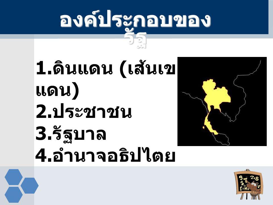 องค์ประกอบของ รัฐ 1. ดินแดน ( เส้นเขต แดน ) 2. ประชาชน 3. รัฐบาล 4. อำนาจอธิปไตย