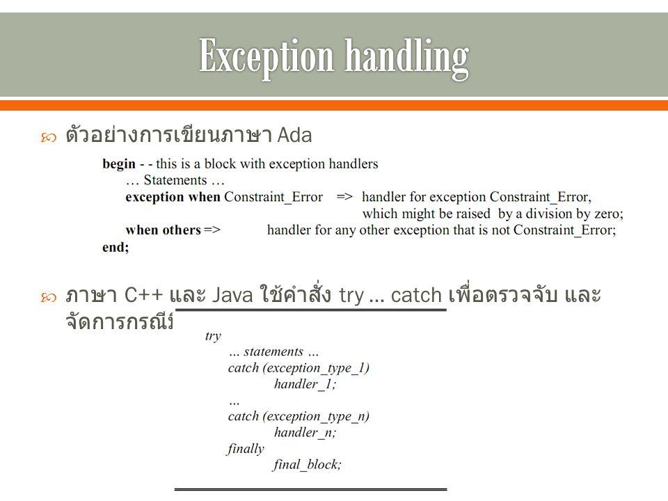  ตัวอย่างการเขียนภาษา Ada  ภาษา C++ และ Java ใช้คำสั่ง try … catch เพื่อตรวจจับ และ จัดการกรณีมีข้อยกเว้นเกิดขึ้น