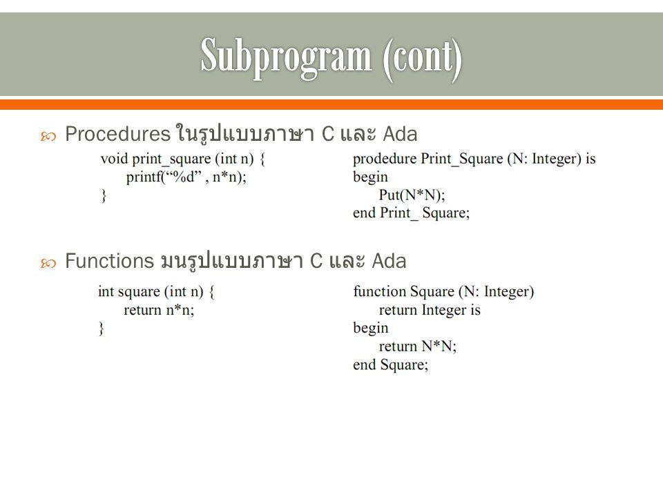  Procedures ในรูปแบบภาษา C และ Ada  Functions มนรูปแบบภาษา C และ Ada