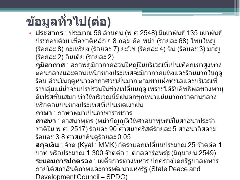 ข้อมูลทั่วไป ( ต่อ ) ประชากร : ประมาณ 56 ล้านคน ( พ. ศ.2548) มีเผ่าพันธุ์ 135 เผ่าพันธุ์ ประกอบด้วย เชื้อชาติหลัก ๆ 8 กลุ่ม คือ พม่า ( ร้อยละ 68) ไทยใ