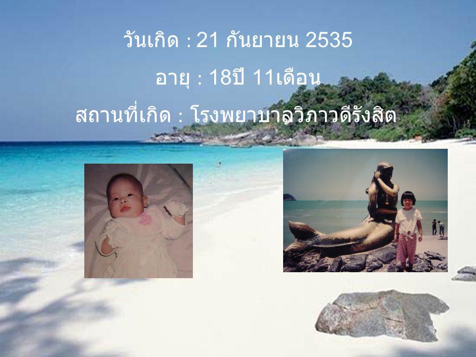 วันเกิด : 21 กันยายน 2535 อายุ : 18 ปี 11 เดือน สถานที่เกิด : โรงพยาบาลวิภาวดีรังสิต