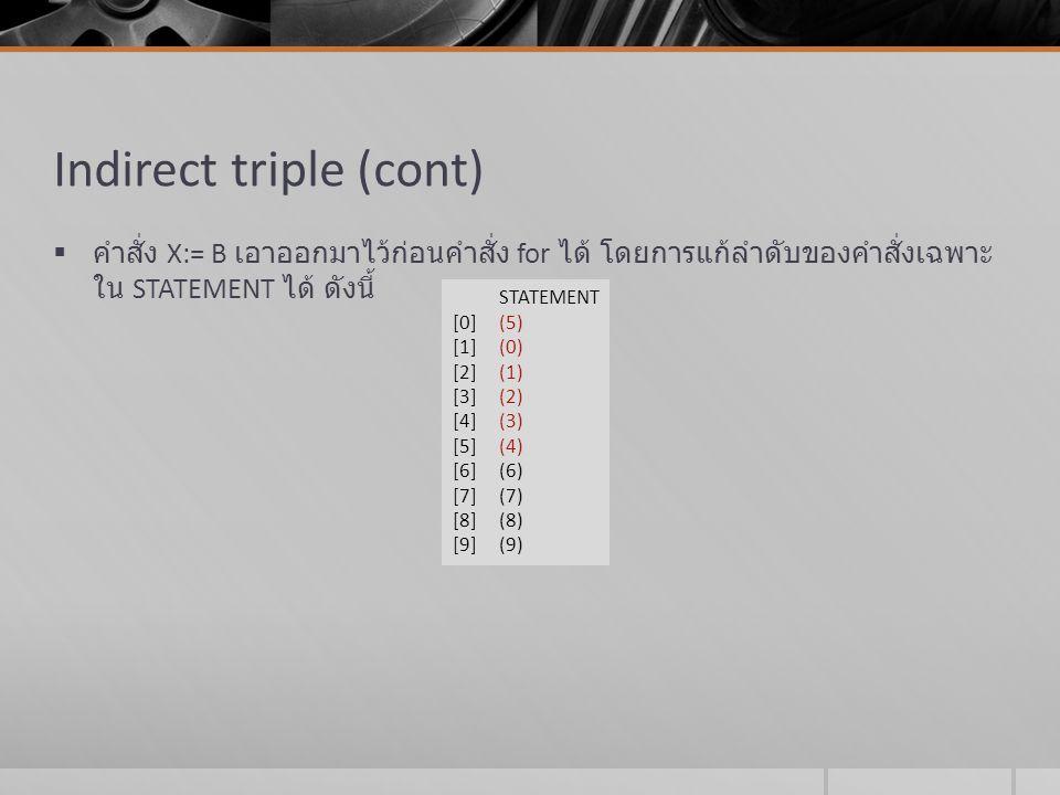 Indirect triple (cont)  คำสั่ง X:= B เอาออกมาไว้ก่อนคำสั่ง for ได้ โดยการแก้ลำดับของคำสั่งเฉพาะ ใน STATEMENT ได้ ดังนี้ STATEMENT [0] (5) [1] (0) [2]
