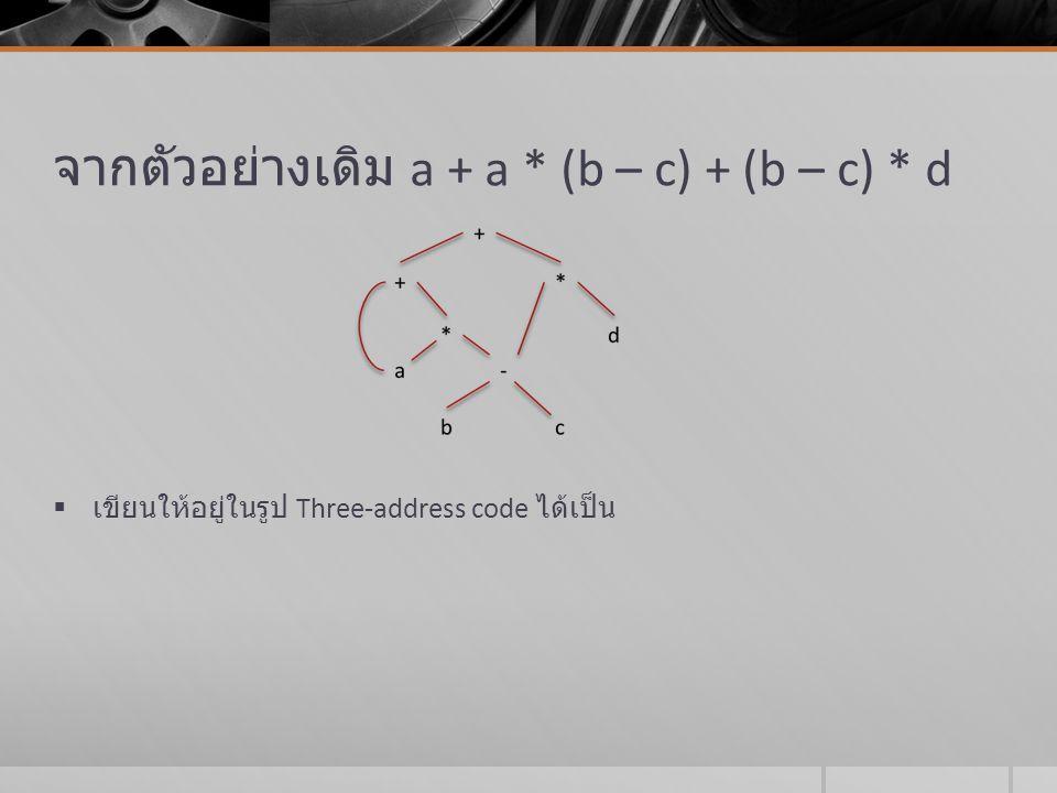 Three-address code (cont)  คำสั่งของ Three-address code อื่นๆ ที่อาจจะมี address น้อยกว่าสามได้แก่  (1) A := op B เมื่อ op เป็นตัวดำเนินการเอกภาค (unary operator)  (2) คำสั่งกระโดดแบบไม่มีเงื่อนไข goto L  (3) คำสั่งกระโดดแบบมีเงื่อนไข if A relop B goto L เมื่อ relop เป็นตัวดำเนินการสัมพันธ์ ( =, etc.)  (4) คำสั่งเพื่อเรียกใช้กระบวนการ P และมีการผ่านพารามิเตอร์ A1, A2, …, An เขียนได้ดังนี้ param A1 param A2 … param An call P, n