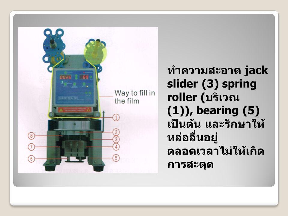 ทำความสะอาด jack slider (3) spring roller ( บริเวณ (1)), bearing (5) เป็นต้น และรักษาให้ หล่อลื่นอยู่ ตลอดเวลาไม่ให้เกิด การสะดุด