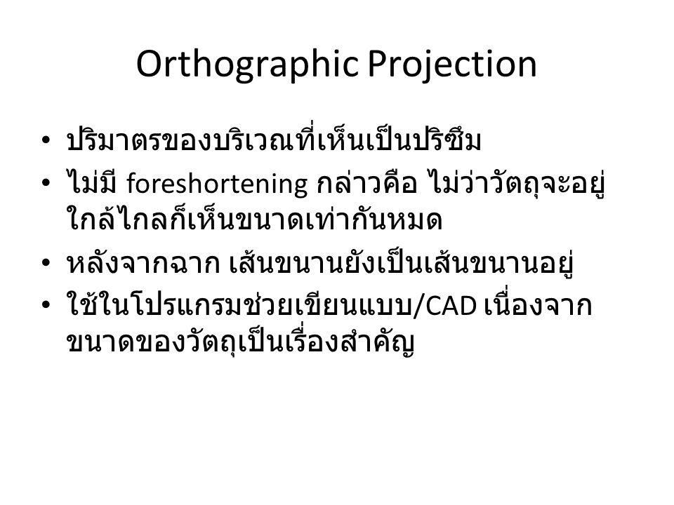 Orthographic Projection ปริมาตรของบริเวณที่เห็นเป็นปริซึม ไม่มี foreshortening กล่าวคือ ไม่ว่าวัตถุจะอยู่ ใกล้ไกลก็เห็นขนาดเท่ากันหมด หลังจากฉาก เส้นข