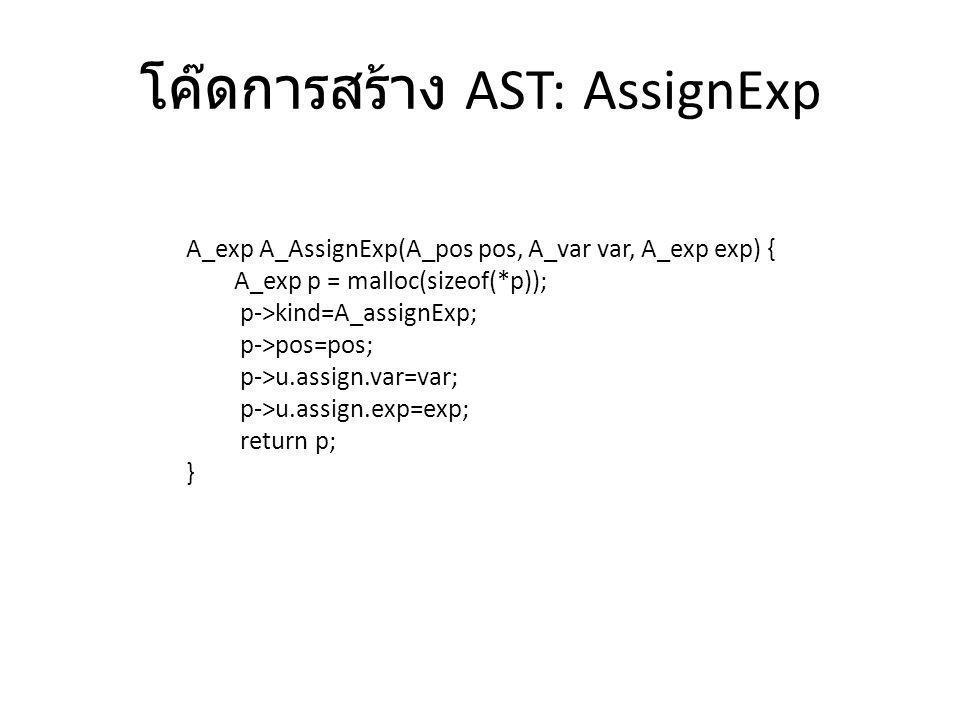 โค๊ดการสร้าง AST: AssignExp A_exp A_AssignExp(A_pos pos, A_var var, A_exp exp) { A_exp p = malloc(sizeof(*p)); p->kind=A_assignExp; p->pos=pos; p->u.a