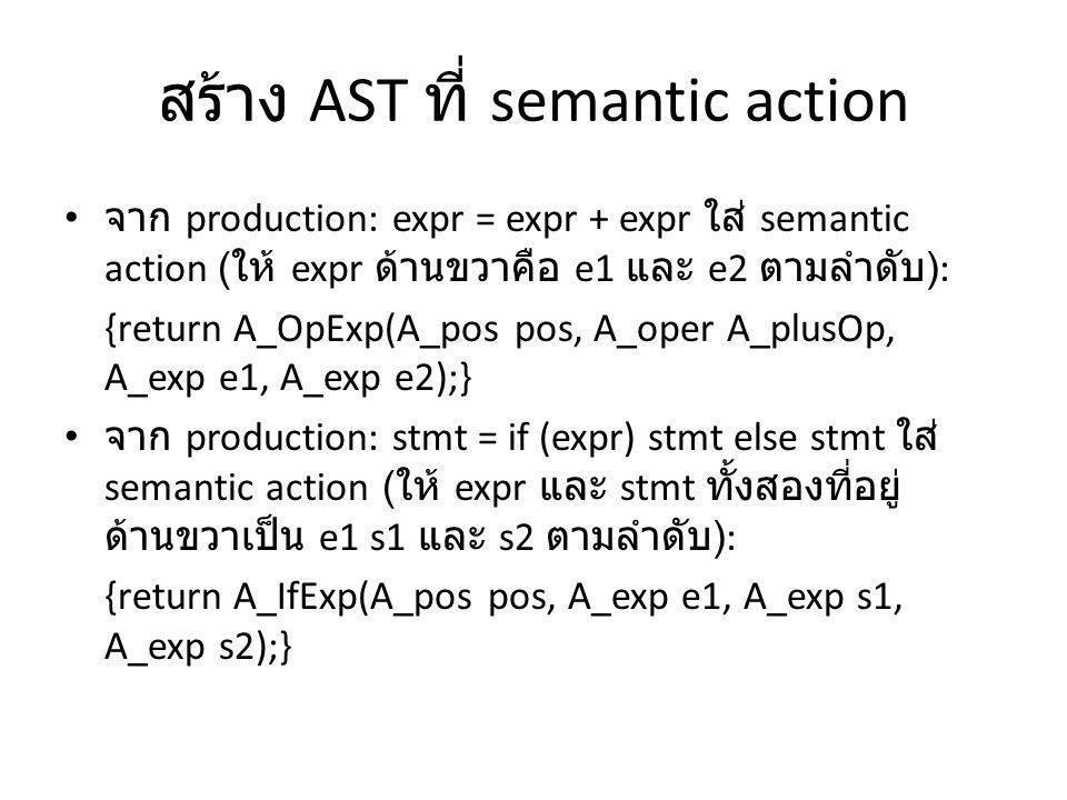 สร้าง AST ที่ semantic action จาก production: expr = expr + expr ใส่ semantic action ( ให้ expr ด้านขวาคือ e1 และ e2 ตามลำดับ ): {return A_OpExp(A_pos