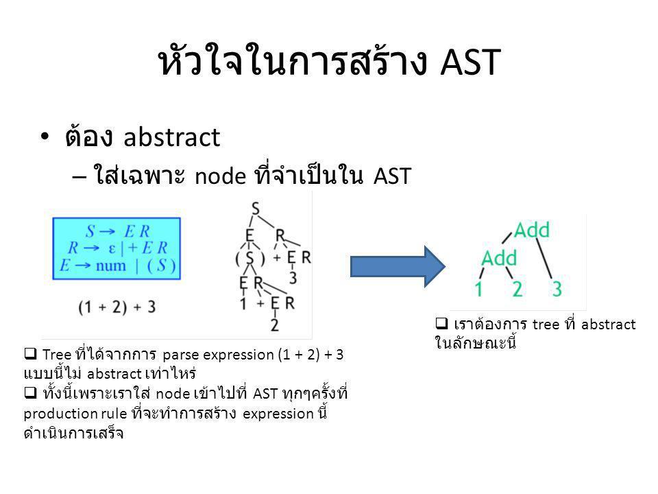 หัวใจในการสร้าง AST ต้อง abstract – ใส่เฉพาะ node ที่จำเป็นใน AST  Tree ที่ได้จากการ parse expression (1 + 2) + 3 แบบนี้ไม่ abstract เท่าไหร่  ทั้งน