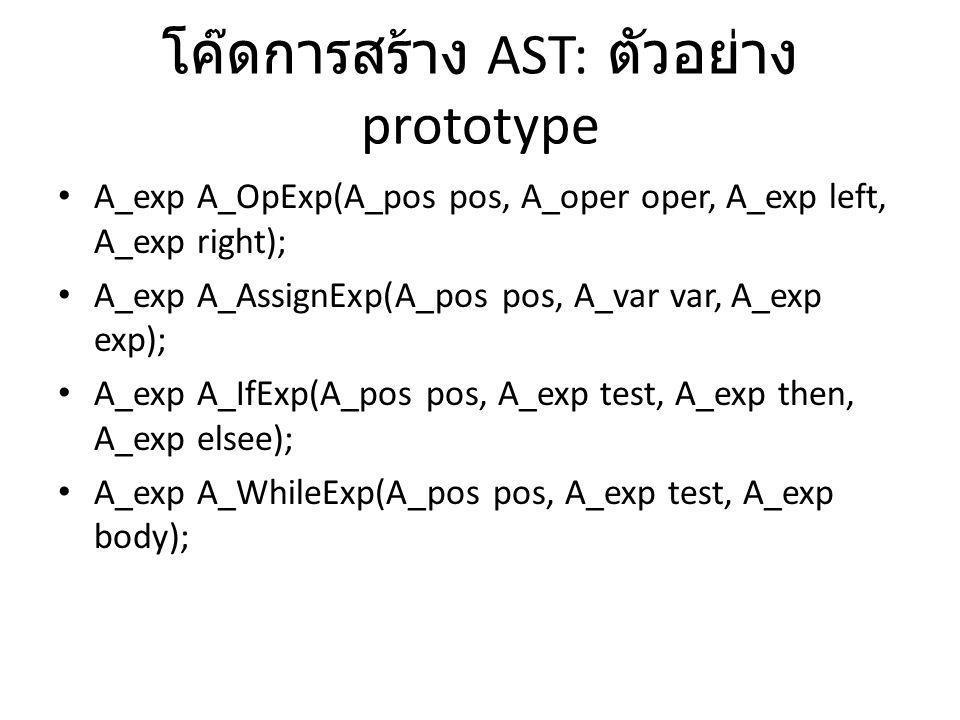 โค๊ดการสร้าง AST: ตัวอย่าง prototype A_exp A_OpExp(A_pos pos, A_oper oper, A_exp left, A_exp right); A_exp A_AssignExp(A_pos pos, A_var var, A_exp exp