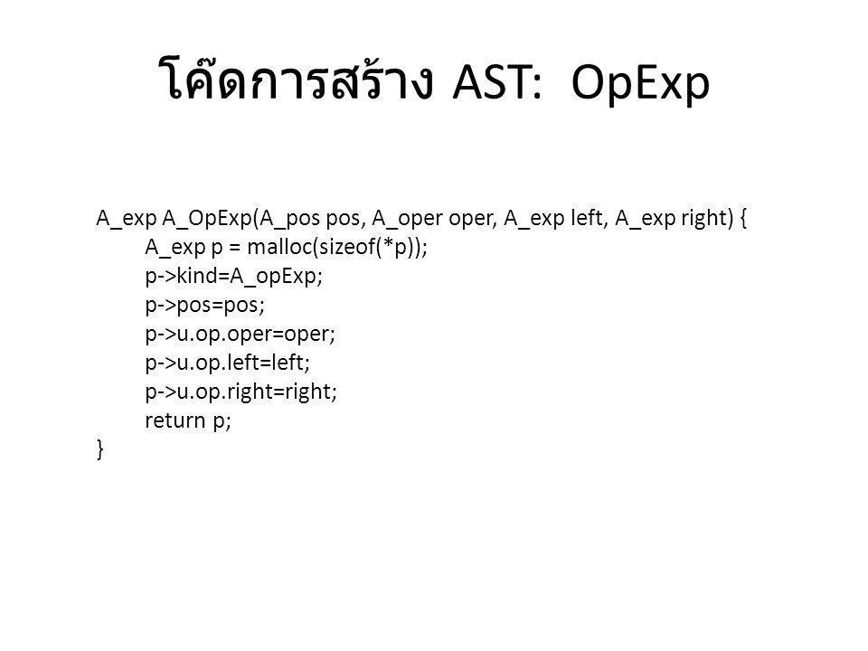 โค๊ดการสร้าง AST: AssignExp A_exp A_AssignExp(A_pos pos, A_var var, A_exp exp) { A_exp p = malloc(sizeof(*p)); p->kind=A_assignExp; p->pos=pos; p->u.assign.var=var; p->u.assign.exp=exp; return p; }