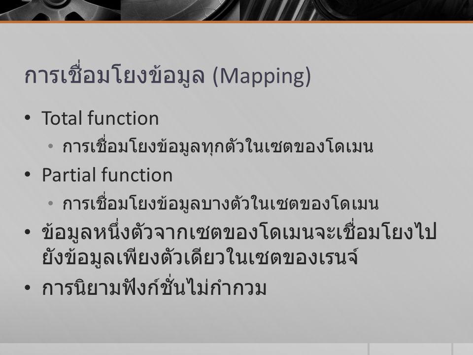 การเชื่อมโยงข้อมูล (Mapping) Total function การเชื่อมโยงข้อมูลทุกตัวในเซตของโดเมน Partial function การเชื่อมโยงข้อมูลบางตัวในเซตของโดเมน ข้อมูลหนึ่งตั