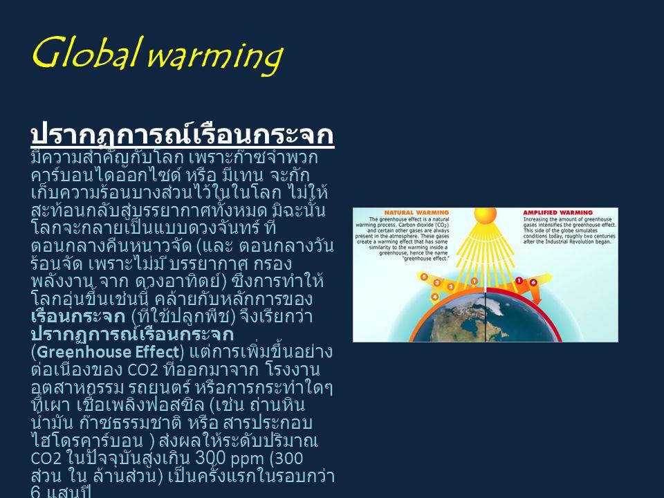 G lobal warming ปรากฏการณ์เรือนกระจก มีความสำคัญกับโลก เพราะก๊าซจำพวก คาร์บอนไดออกไซด์ หรือ มีเทน จะกัก เก็บความร้อนบางส่วนไว้ในในโลก ไม่ให้ สะท้อนกลั