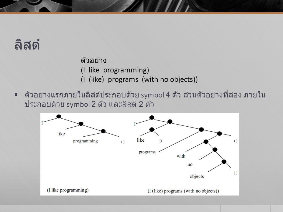 ลิสต์  ตัวอย่างแรกภายในลิสต์ประกอบด้วย symbol 4 ตัว ส่วนตัวอย่างที่สอง ภายใน ประกอบด้วย symbol 2 ตัว และลิสต์ 2 ตัว ตัวอย่าง (I like programming) (I