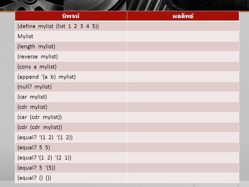 นิพจน์ผลลัพธ์ (define mylist (list 1 2 3 4 5)) Mylist (length mylist) (reverse mylist) (cons a mylist) (append '(a b) mylist) (null? mylist) (car myli