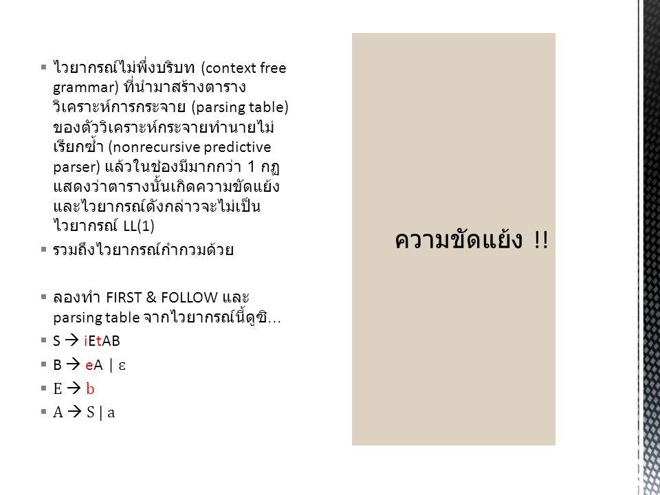  CFG จะเป็นไวยากรณ์ LL(1) ก็ต่อเมื่อ  X   1 |  2 | … |  n แล้วจะได้ว่า FIRST(  i )  FIRST(  j ) =  สำหรับ i  j   i  *  แล้ว FIRST(  j )  FOLLOW(X) =  สำหรับ j  I  ไวยากรณ์ต่อไปนี้เป็นไวยากรณ์ LL(1) หรือไม่  S  iEtSA | a  A  eS |   E  b