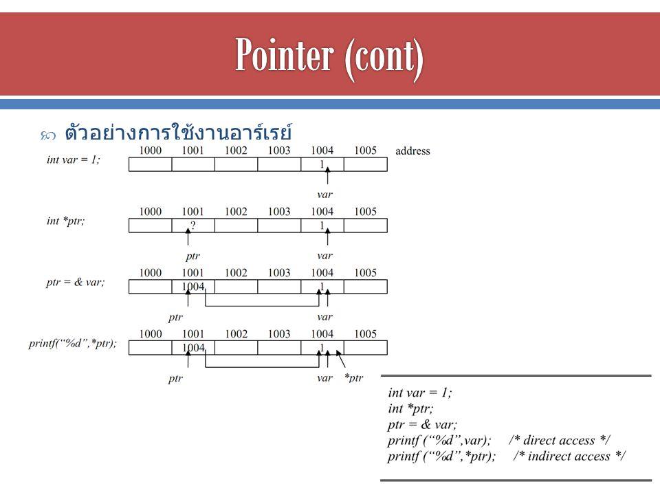  การประกาศตัวแปรพ็อยเตอร์ ต้องระบุว่าชี้ไปที่ค่าประเภทใด ( เช่น int, char, float) เพื่อให้คอมไพเลอร์รู้ว่าตำแหน่งที่อ้างอิง ไปนั้นยาวกี่ไบต์  ค่าที่เก็บในตัวแปรพ็อยเตอร์จะเป็นตำแหน่งเริ่มต้นของค่าที่ถูก อ้างอิง