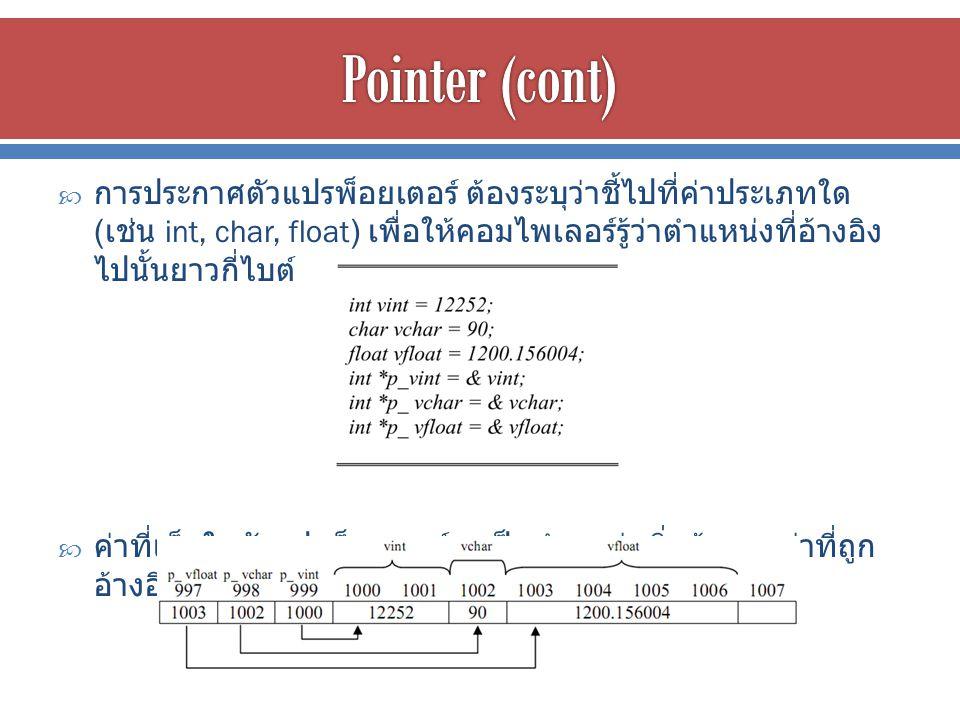  การประกาศตัวแปรพ็อยเตอร์ ต้องระบุว่าชี้ไปที่ค่าประเภทใด ( เช่น int, char, float) เพื่อให้คอมไพเลอร์รู้ว่าตำแหน่งที่อ้างอิง ไปนั้นยาวกี่ไบต์  ค่าที่