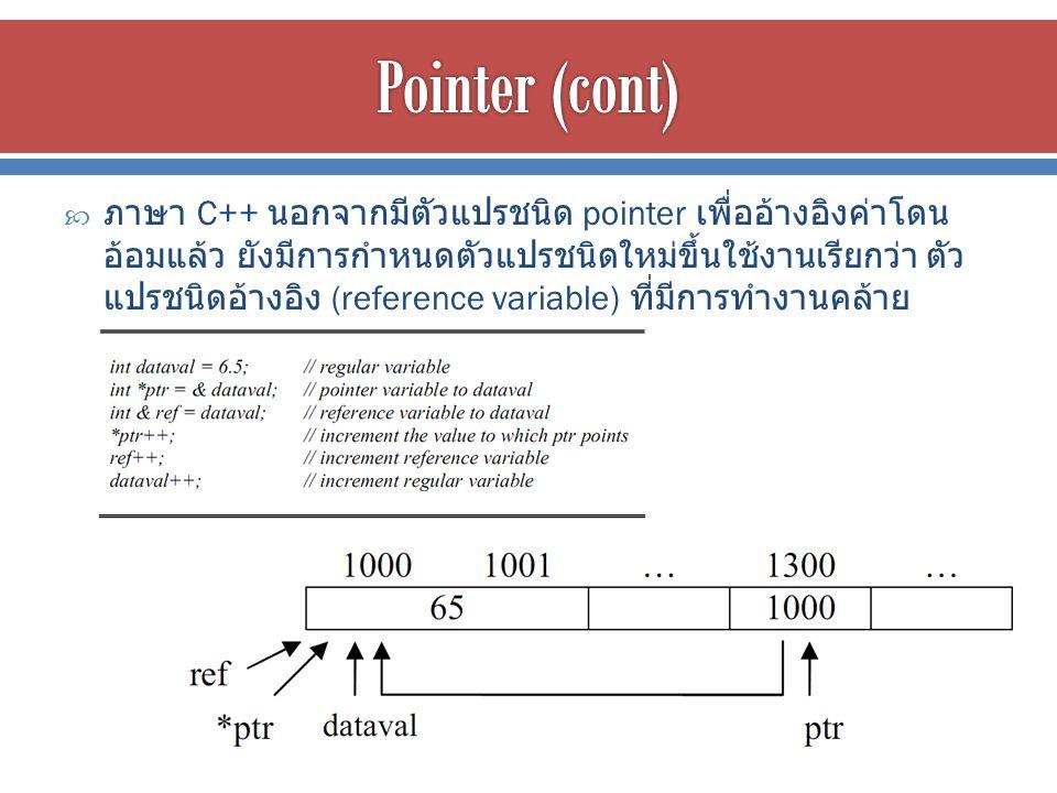  ภาษา C++ นอกจากมีตัวแปรชนิด pointer เพื่ออ้างอิงค่าโดน อ้อมแล้ว ยังมีการกำหนดตัวแปรชนิดใหม่ขึ้นใช้งานเรียกว่า ตัว แปรชนิดอ้างอิง (reference variable