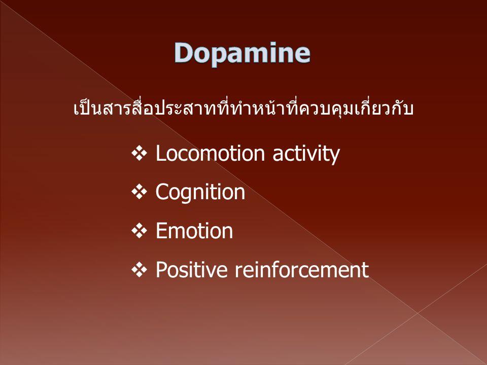 เป็นสารสื่อประสาทที่ทำหน้าที่ควบคุมเกี่ยวกับ  Locomotion activity  Cognition  Emotion  Positive reinforcement