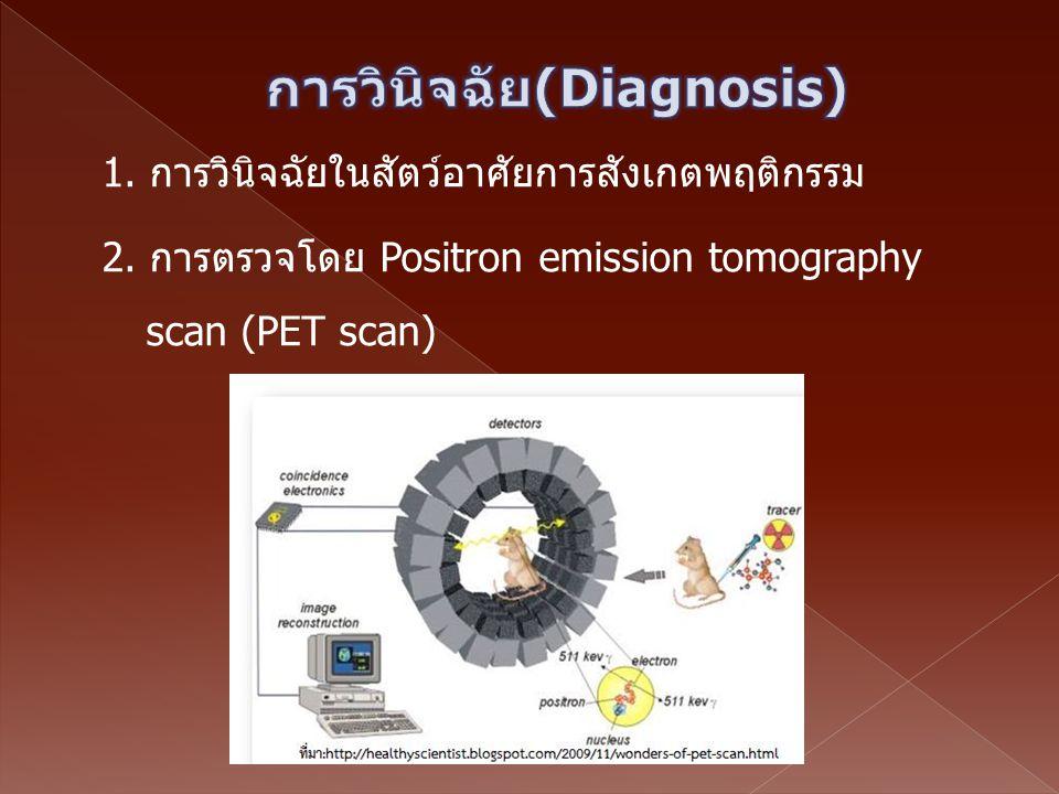 1. การวินิจฉัยในสัตว์อาศัยการสังเกตพฤติกรรม 2. การตรวจโดย Positron emission tomography scan (PET scan)