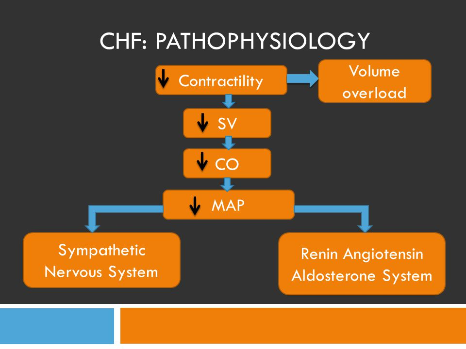 CHF: COMPENSATION Sympathetic Nervous System Catecholamine Contractility Heart Rate TPR CO SV Cardiac Workload Vasoconstriction BP
