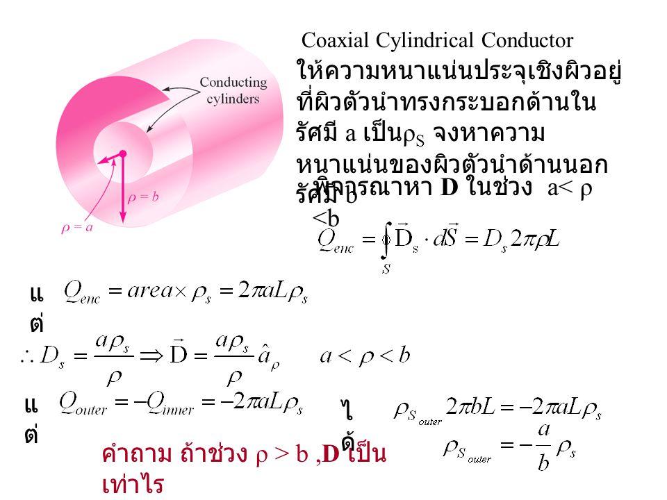 ให้ความหนาแน่นประจุเชิงผิวอยู่ ที่ผิวตัวนำทรงกระบอกด้านใน รัศมี a เป็น ρ S จงหาความ หนาแน่นของผิวตัวนำด้านนอก รัศมี b แ ต่ Coaxial Cylindrical Conduct