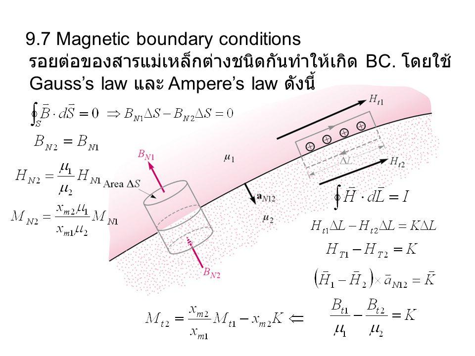 9.7 Magnetic boundary conditions รอยต่อของสารแม่เหล็กต่างชนิดกันทำให้เกิด BC. โดยใช้ Gauss's law และ Ampere's law ดังนี้