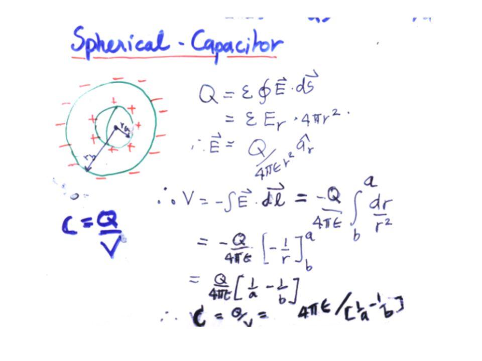 ไม่ว่าตัวเก็บประจุจะมีรูปแบบเป็นอย่างไร การหาค่าความ จุจะใช้เหมือนเดิม สำหรับตัวเก็บประจุแบบทรงกลม ถ้าเลือกให้ b → ∞ และตัวกลางเป็นอวกาศ ทรงกลมตัวนำ อยู่ที่ a แล้วฉาบด้วยสารใดๆรัศมี r1