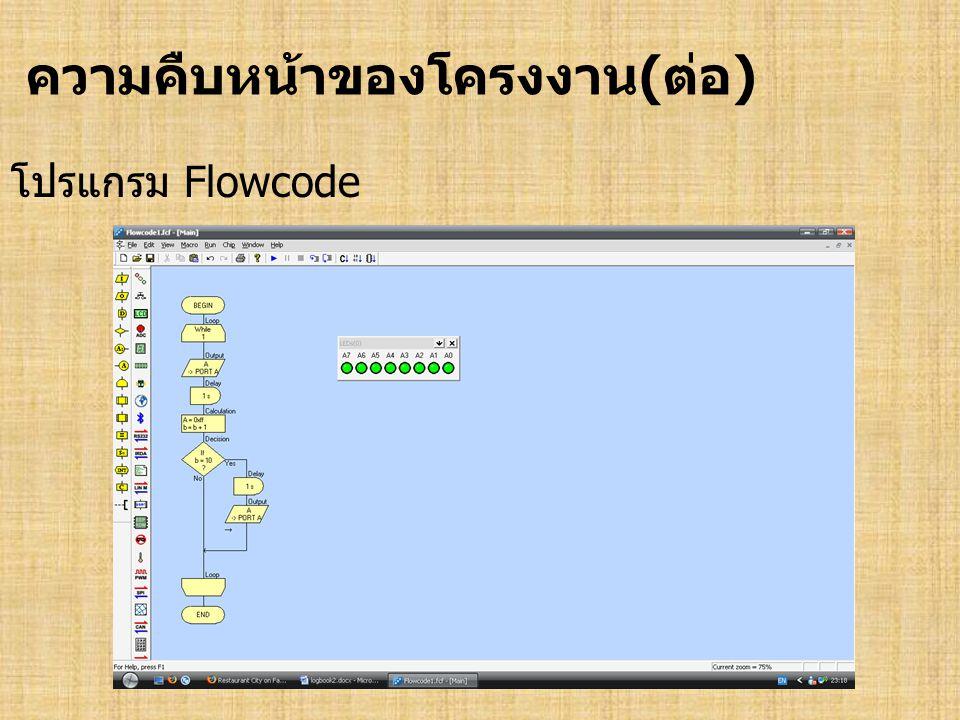 ความคืบหน้าของโครงงาน(ต่อ) โปรแกรม Flowcode