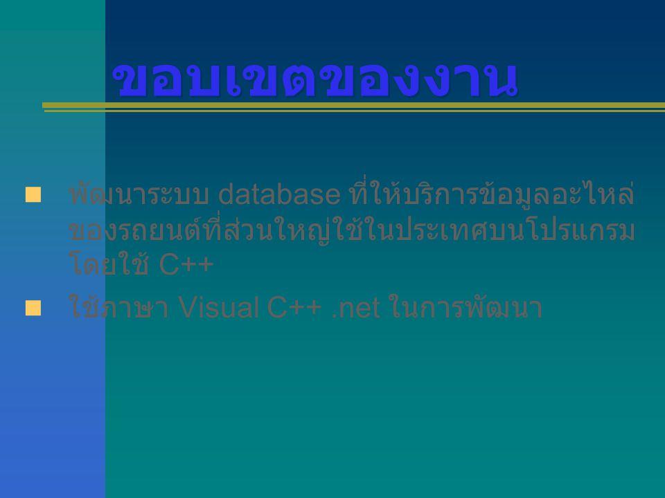 ขอบเขตของงาน พัฒนาระบบ database ที่ให้บริการข้อมูลอะไหล่ ของรถยนต์ที่ส่วนใหญ่ใช้ในประเทศบนโปรแกรม โดยใช้ C++ ใช้ภาษา Visual C++.net ในการพัฒนา