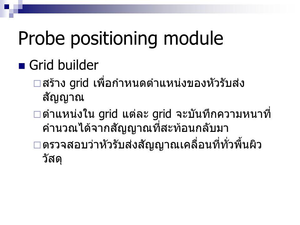 Probe positioning module Grid builder  สร้าง grid เพื่อกำหนดตำแหน่งของหัวรับส่ง สัญญาณ  ตำแหน่งใน grid แต่ละ grid จะบันทึกความหนาที่ คำนวณได้จากสัญญ