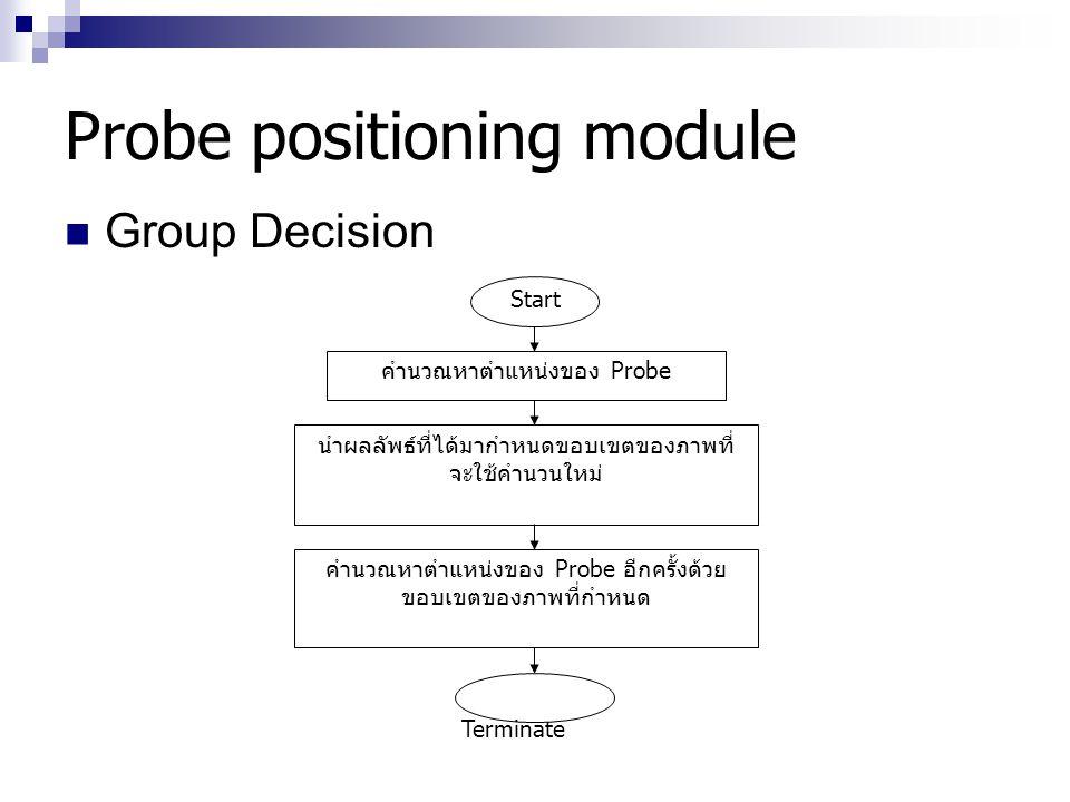 Probe positioning module Group Decision Start คำนวณหาตำแหน่งของ Probe นำผลลัพธ์ที่ได้มากำหนดขอบเขตของภาพที่ จะใช้คำนวนใหม่ คำนวณหาตำแหน่งของ Probe อีก